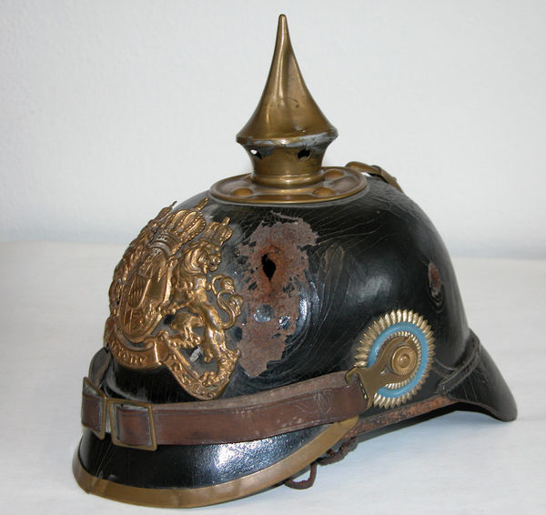 Simon Gammel's Pickelhaube with the shrapnel hole in front.