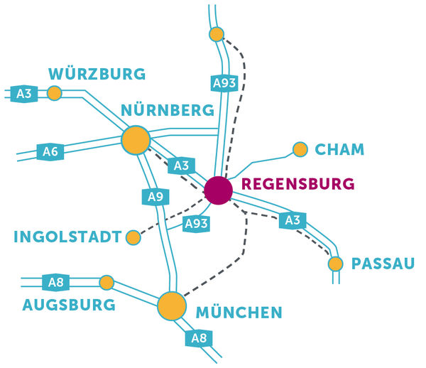 Map with directions to Regensburg
